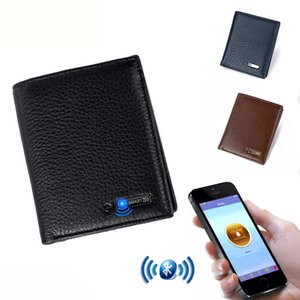 SMARTLB Hombres Cuero genuino Corto Bluetooth Anti Perdido Robo Selfie Smart Wallet Anti Lost Inteligente Bluetooth Monedero Male Card Holders