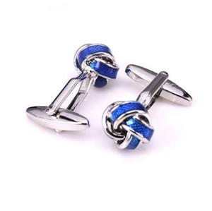 Camicia di lusso HYX gemello nodo blu per uomo gemelli polsini di marca gemelli gioielli abotoaduras di alta qualità