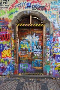 Renkli Graffiti Duvar Kapı Fotoğraf Backdrop Vintage Dijital Baskılı Bebek Yenidoğan Fotoğraf Sahne Çocuk Çocuklar için Arka Plan Stüdyo