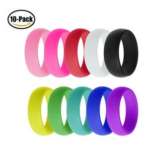 10pcs / Donne impostate silicone ipoallergenico Wedding Rings O-ring orlo confortevole lightweigh Ring per gli uomini gioielli paio regalo di disegno