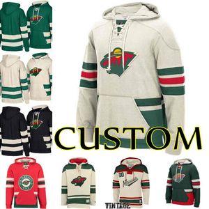64 Mikael Granlund 46 Jared Spurgeon 22 nino-niederreiter personalizzato da uomo Minnesota Wild Custom Hockey Hoodie Felpa con cappuccio cucita in jersey