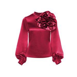Clocolor Frauen Fleck Bluse Fashion Solid Color Burgundy Blume Laterne Langarm Sommer Tops Vintage Streetwear Bluse Shirt
