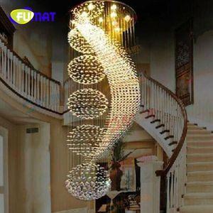 FUMAT modern spiral tasarım LED K9 kristal avize ışıkları büyük cilalar ev aydınlatma
