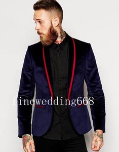 Hochwertige kühle Samt One Button Navy Blue Hochzeit Bräutigam Smoking Männer Anzüge Hochzeit Prom Dinner Trauzeuge Blazer (Jacke + Krawatte + Hose) N12