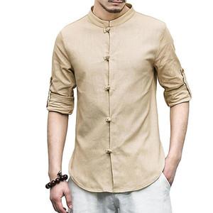 2018 neue beiläufige chinesische frosch tasten shirts männer baumwolle leinen vintage slim fit mann shirts langarm weiß mann kleidung