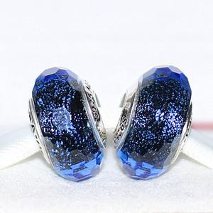 Lampwork Handmade 925 Sterling Prata Iridescente Azul Facetado Murano Glass Bead Fits Europeu Pandora Jóias Braceletes