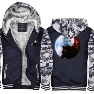 Camouflage Yin-Yang Wolf Imprimé Hommes et Femmes Hiver Sweat À Capuche Zipper Veste Sweats Épaississent Cardigan Manteau Survêtement États-Unis Taille UE