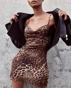Seksi leopar spagetti kayışı dress kadınlar backless bodycon mini dress kadın yüksek bel kulübü parti vestidos elbiseler m3295