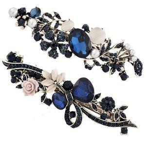 Blaue Retro-Legierung Crystal Hairclips - Vintage Damen Lady Flower Shaped Haarschellen Clips Haarspange Hair Styling Zubehör