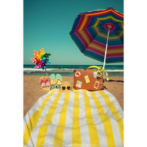 Summer Holiday Beach Theme Telón de fondo para la fotografía impresa paraguas Maleta Colorful Pinwheel Toy bebé niños foto fondos