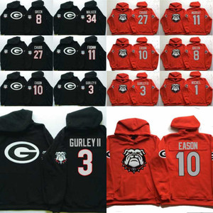 Homens Georgia Bulldogs Coollege Camisola 34 Herchel Walker 27 Nick Chubb 11 Jake Fromm 10 Jacob Eason 3 Camisolas Gurley II Camisolas Com Capuz