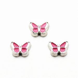 Новые 50pcs / серия Pink Butterfly Плавающие Подвески Fit Жизнь стекла Floating Медальоны браслет DIY Подвески Вспомогательное оборудование ювелирных изделий