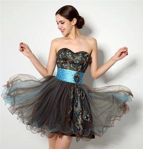 Modest Prom Dresses Pena de Pavão Decoração Vestido de Festa de Formatura Vestido de Baile Vestidos de Dama de Honra Vestidos de Baile Curtos Vestido Formal de Mulher