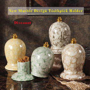 Portable Marble Toothpick Storage Holder Dispenser For Home Wedding Restaurant Decoration Crystalline Glaze Crown Gifts