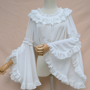 Spring Summer Long Flare sleeve LOLITA Shirt Vintage White and Black Chiffon Jsk Women Gothic Blouse