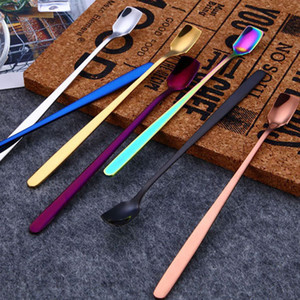 304 Stainless Steel Square Head Ice Spoons Home Kitchen Supplies Long Handle Coffee Dessert Gold Cocktail Stirring Scoops drop ship