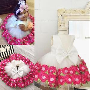 2018 Toddler First Communion Dress Adorable Flower Girl Dresses Lovely V-Neck Handmade Flowers Bow Toddler Girls Pageant Dresses Cheap