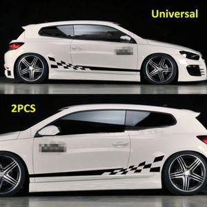 2PCS 방수 자동차 decal 비닐 그래픽 사이드 스티커 바디 데칼 스티커 블랙