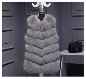 Colete de Pele De alta qualidade casaco de Luxo Faux Fox Casaco Coletes À Prova de Vento Roupas de Inverno Das Mulheres quentes Casacos das Mulheres Jaqueta Gilet Veste Plus Size 3XL