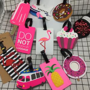 20styles Flamingo Einhorn-Gepäckanhänger PVC-Karikatur weichen Silikon Name Adresse ID Koffer Travel-Boarding Label Geschenke Tragbare Etiketten FFA934-1