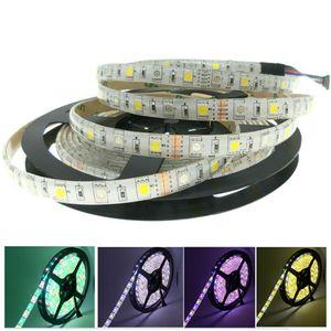 SMD 5050 RGB LED Strips Soggiorno Decorazione 5m / rotolo 60 LED Striscia di illuminazione per vacanze all'aperto TV Black Strip
