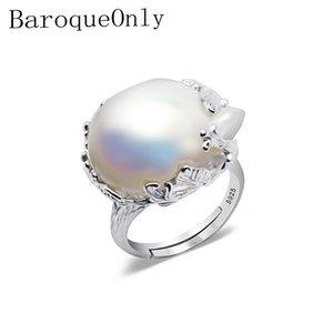 BaroqueOnly 925 серебряное кольцо 15-22мм большого размера в стиле барокко нерегулярные перлы кольцо, подарки женщин Y1892705