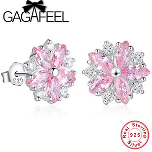 Venta al por mayor Pink Crystal Daisy Cherry Blossom Stud Earrings Real Pure 925 Sterling Silver Floral Flower Earrings Para Mujeres joyería