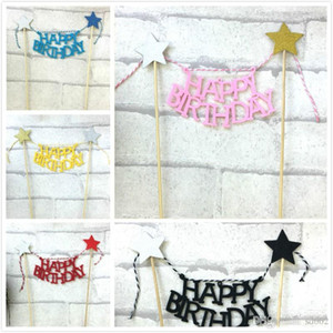 Cake Decorating Flag Herramientas Insertar tarjeta Happy Birthday Party Para Home Garden Event Paper Supplies Bardian 1 5hw dd