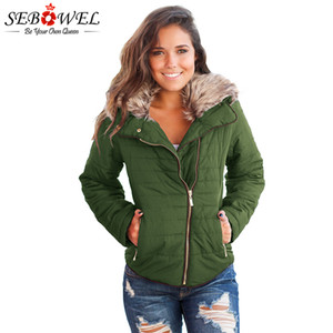 SEBOWEL Autunno Inverno Donna Army Green Faux Fur Jacket Plus Size Slim femminile breve cappotto di velluto caldo Outwear Women Winter Clothes