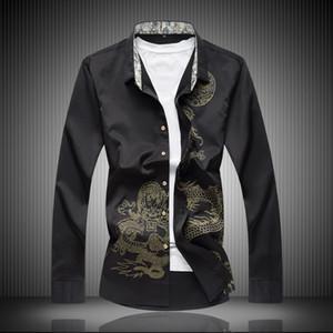 Высокое качество классический стиль хлопок волокна мужчины Платье рубашка Дракон печати мужские социальные рубашки Офисная одежда легкий уход (регулярные Fit)