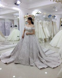Дубай арабские кружевные свадебные платья с аппликациями с плеча с короткими рукавами часовня поезде на линии свадебные свадебные платья