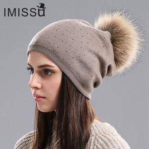 IMISSU Kadınlar Kış Şapka Yün Örme Kasketleri Kap Gerçek Rakun Kürk Ponpon Şapkalar Katı Renkler Kayak Gorros Kap Kadın Nedensel Şapka