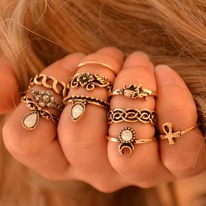 10 unids / set conjunto de anillo de declaración bohemio Gypsy Boho dedo nudillo anillos para mujeres Vintage anillo de elefante de Midi joyería turca