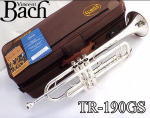 Bach TR-190GS Trompeta Auténtica Doble Plateado B Plateada Trompeta Profesional Superior Instrumentos Musicales Brass Bugle Bb Trumpete