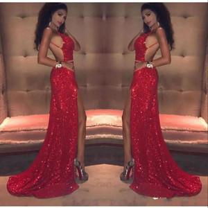 Sexy Rouge Paillettes Robes De Bal Longue 2018 Sirène Cuisse-Haute Fentes Bretelles Spaghetti Dos Nu Africain Noir Fille Celebrity Robes De Soirée