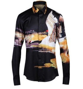 Free Shipping 2018 New Arrival Spring Autumn Fashion Crane Chinese Style Original Slim Men's Business Long-sleeved Shirt Hot Sale