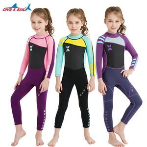 Çocuklar Wetsuit Tam Takım 2.5mm Uzun Kollu UV koruma Mayo Dalış Takım Neopren Sıcak Tutmak Çocuklar Tek Parça Wetsuit