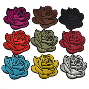 90ps 3'' Rose Embroidery Sew Iron On Patch Badge Bag Clothes Fabric Applique Lace Trim for DIY Craft sewing