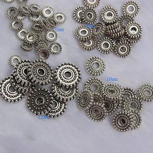 200 pcs Liga De Prata Tibetano Spacer Beads Diy Liga Jóias Acessórios Para Pulseiras Soltas Spacer Beads 6mm 8mm 10mm 12mm
