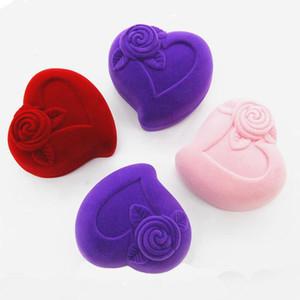 Anel Brinco Caixa de Presente Pêssego Forma de Coração Jóias Anéis Brincos Armazenamento Embalagem Caixas Em Flocagem De Veludo Doce