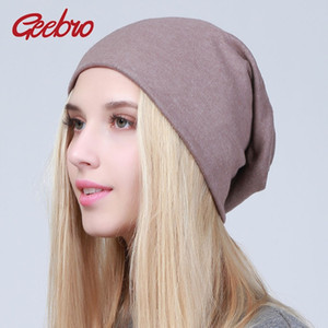 Geebro Women's Plain Beanie Hat 2018 Spring Cotton Slouchy Beanie for Women Knitted Bone Hat Ladies Black Skullies Cap JS293A Y18102210