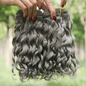Sliver Grey Deep Wave Human Hair Extensions 3Pcs Lot Deep Curly Wavy Hair Bundles Gray Brazilian Virgin Hair Weaves