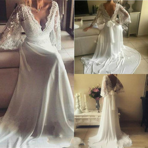 Bohemian Long Sleeve Lace Applique V-Neck Wedding Bridal Gowns Vintage A Line Bridal Gowns Plus Size Chiffon Bow Wedding Dress