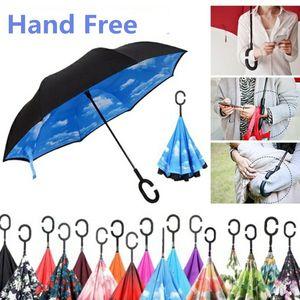 Einzigartige Outdoor-Sonnenschirm Inverted Kreative Hands-Free Stand-Up-Regenschirm Sonnenschirme Winddichtes Reverse-Folding Double-Layer-C-Hook Regenschirme