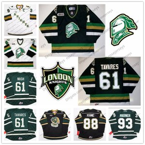CHL London Knights # 93 Mitch Marner 88 Patrick Kane 61 Tavares Rick Nash Maglia cucita hockey su ghiaccio Nero Verde Bianco Maglioni vintage 4XL