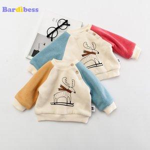 Bardibess ребёнка Winter Картонных Толстовки Мальчики Dear Cashmere Топы с длинным рукавом Hoodies Детской рубашки Новорожденной Детской одежды