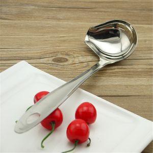 Práctico Colgador Colador Seguridad Desgaste Resistente Cuchara de sopa de acero inoxidable para restaurante Inclinación de boca Diseño Hot Pot Cucharas Nuevo 4 8ps B