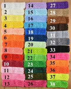 """1.5"""" Kore Çocuk Örme elastik saç bantlarında bebek tığ işi saç bandı 38 renk 60 p / l"""