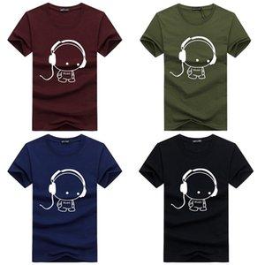 2018 Estate T-shirt da uomo Casual marca T-shirt Moda auricolare musica da fumetto stampato O-Collo TShirt da uomo cotone Tee 2XL-5XL