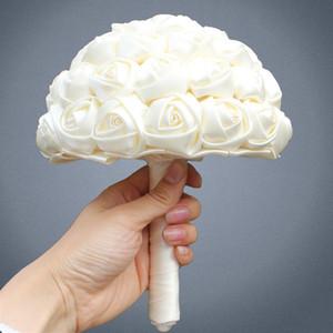 Bouquet de fleurs Marfim Ivoire Soie Bouquet de mariée de taille différente pour fille de fleur artificielle / demoiselle d'honneur / mariée en satin tenant une fleur